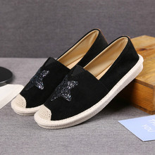 цена на Spring Women Canvas Shoes Casual Flats Vulcanize Shoes Slip on Female Breathable Fashion Stars Espadrilles Women Ladies Loafers