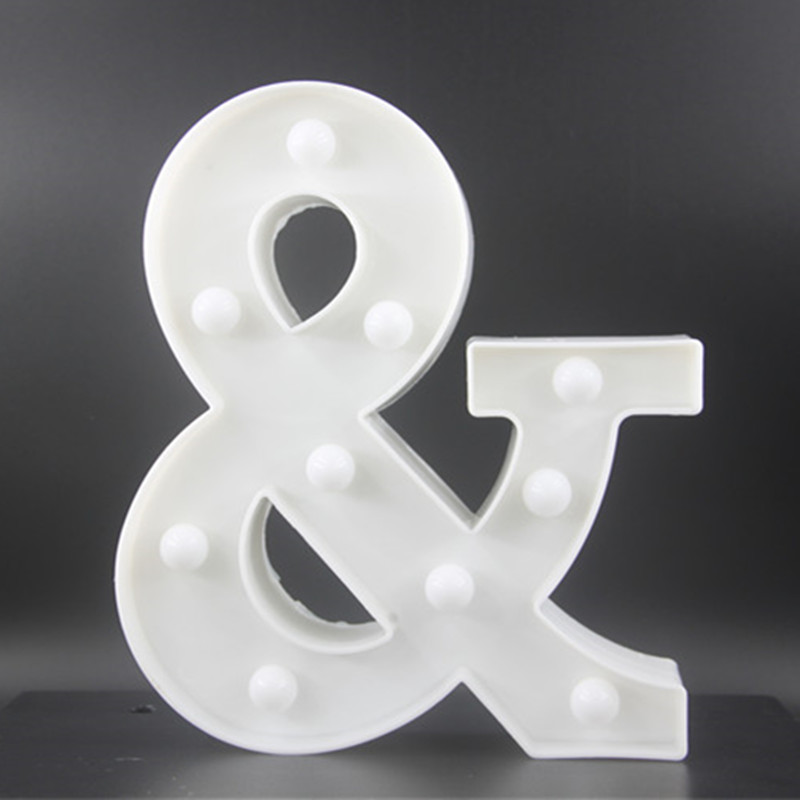 22CM White Letters LED Night Light Marquee Sign Alfabet - Nattlampor - Foto 4