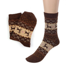 Christmas Socks Deer Design Casual Knit Print Women Socks Wool Socks Warm Winter Mens Women Calcetines
