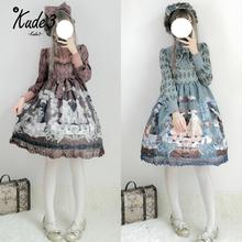 Gothic Vintage Rabbit Printed OP Lolita Lace Trim Dress Women Japanese Palace Party High Waist Bow Dress Princess Dresses 8446 все цены
