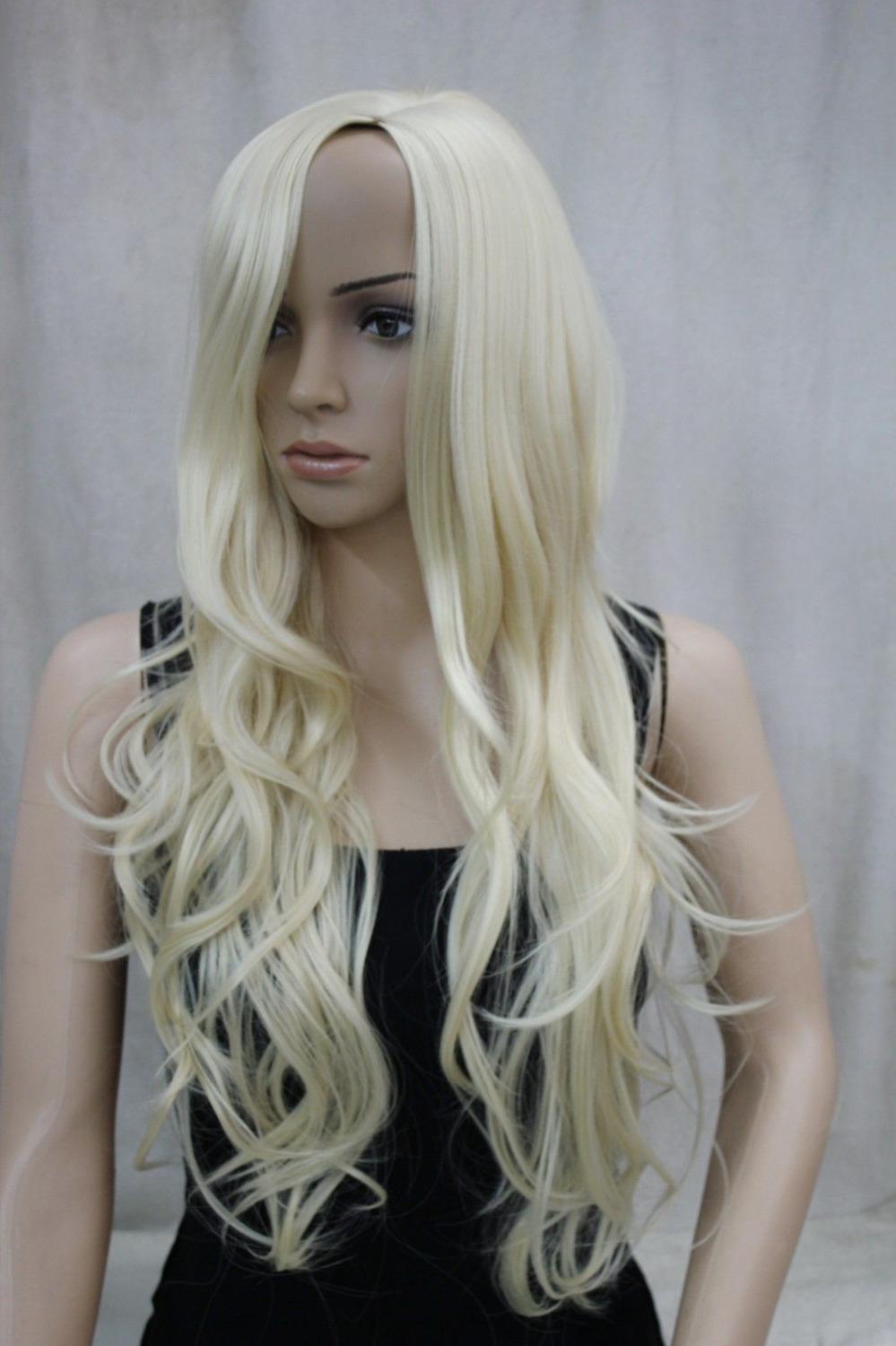 1834 exy no bangs pale blonde long wavy side skin part top synthetic hair  women  wig 96956ea17