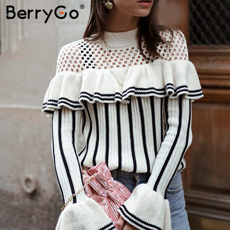 BerryGo Sexy Hollow Out Ruffles Knitted Pullover Women Casual Striped Sweater Autumn Winter 2018 Flare Sleeve Warm Jumper Female