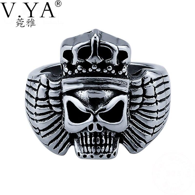 V.YA 925 Sterling Silver Punk Style Skull Rings For Men Party Cool King Skeleton Finger Ring Men's Jewelry Best Gift