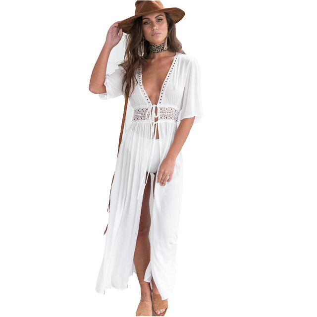 Summer Bohemian Women White Color Hollow Out Long Dresses V-neck Boho Maxi Beach Vestidos Femme Party Dress