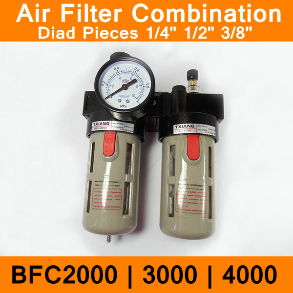 BFC2000 BFC3000 BFC4000 Air Filter Combination Port Size 1/4 3/8 1/2 Pneumatic Source Treatment Unit BFR + BL Lubricator