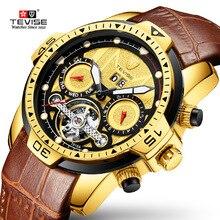 Tevise Men's Automatic Mechanical Watches Men Luxury Golden Tourbillon Skeleton