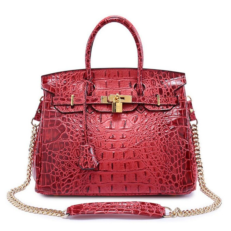 handbag designer Alligator Chains bag ,women Lock handbag , luxury Genuine Leather Totes , Leather Classic brand messenger bags luxury brand chains double flap bag 100% genuine leather sheepskin women classic shoulder bag handbag totes red black beige pink