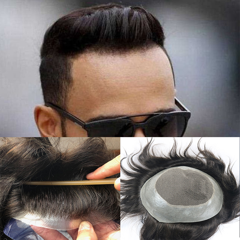 100% Indian Human Hair Toupee For Men 8
