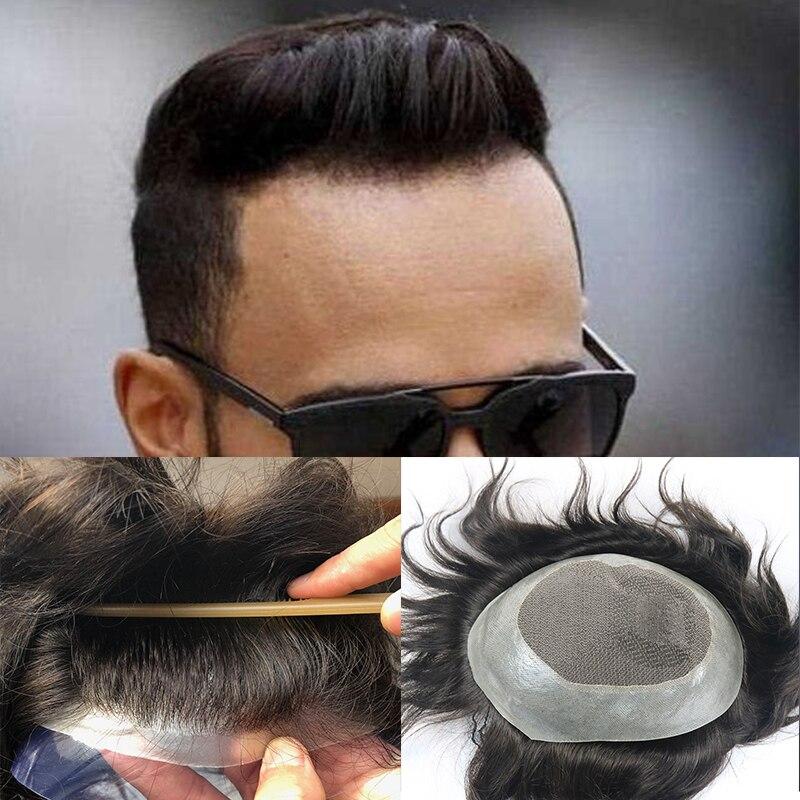 100% Indian Human Hair Toupee For Men 8