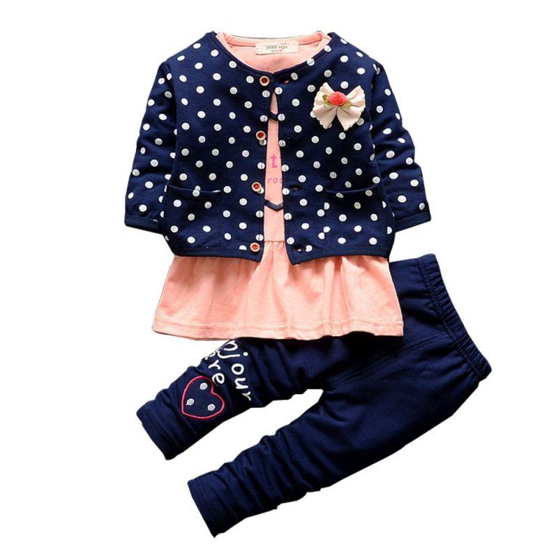 3 Pcs Baby Girl Clothing Sets Kids Coat + T-shirt + Pants Children Princess Heart Shaped Print Bow Baby Girl Outfits