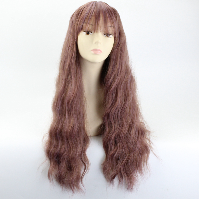 JOY&BEAUTY 26 Long Wig 6 Color Womens Wigs with Bangs Heat Resistant Synthetic Kinky Curly Wigs Black Gray Brown Pink