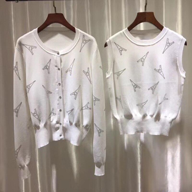 Новая мода сезон: весна лето 2019 женский печатных вязаный кардиган свитер пальто двойка с жилет без рукавов куртка дамы