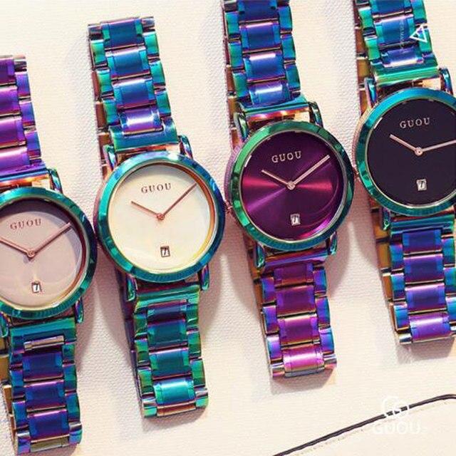 GUOU Vigilanza di Modo Delle Donne Colorato In Acciaio Inox Vigilanza di Signore Di Lusso delle Donne Squisite Orologi reloj mujer relogio feminino