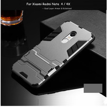 hot deal buy case for xiaomi redmi note 4 cover anti-knock plastic + silicon phone stand case for redmi note 4 note4 pro coque funda capa