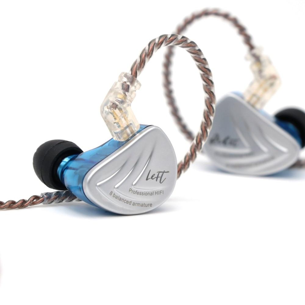 Kz as16 8ba 8 armadura balanceada driver iem estéreo de alta fidelidade fone de ouvido fone de ouvido fone de ouvido de alta resolução com 0.75mm 2 pinos cabo - 6