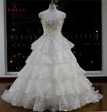 Heavy Beading Bridal Gown Vestidos De Novia 2018 robe de mariee Custom Made  Lace Tulle Stone Crystal Wedding Dresses WA46 ea16fb8c5dab