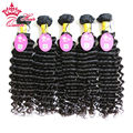 "Queen Hair Products Peruvian Grade 8A Grade Top Quality Deep Wave Curly Human Hair Weft 100% Virgin Hair 12""-28"" 5pcs/lot"