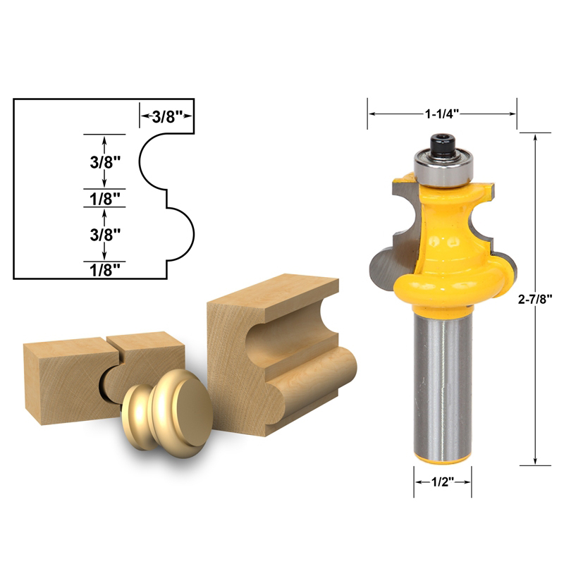 1pcs Flute & Bead Molding Router Bit 1/2 shank 1 2 x 2 1 8 dual flute corner roundover bit router