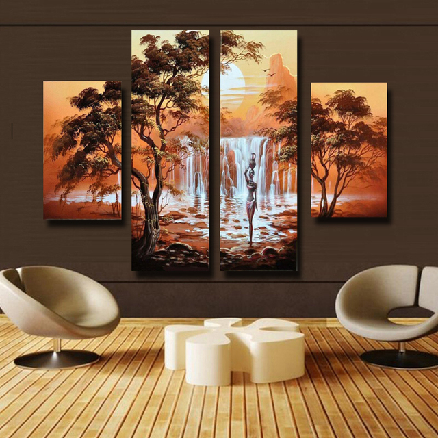 7506133f3 Hand Painted Africa Landscape Oil Painting On Canvas Beauty Waterfall  Modern Art Home Decoration 4pcs/set Free Shipping