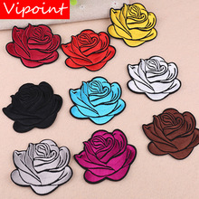 VIPOINT embroidery rose patches flower badges applique for clothing YX-73