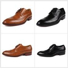 GRIMENTIN Brand vintage men oxford genuine leather black business male shoes