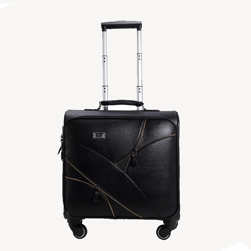Good quality 16 18 20 22 24inches black pu leather trolley luggage on universal wheels,male and female retro travel luggage bags