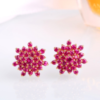 Robira Free Shipping 18K Gold Beautiful Starry Earrings 100 Natural Ruby Earrings Fine Precious Stone Jewelry