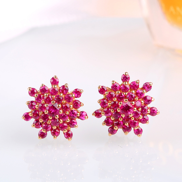 Robira 18k Rose Gold Natural Red Ruby Luxury Stud Earrings For Women Fashion Wedding Engagement Earring