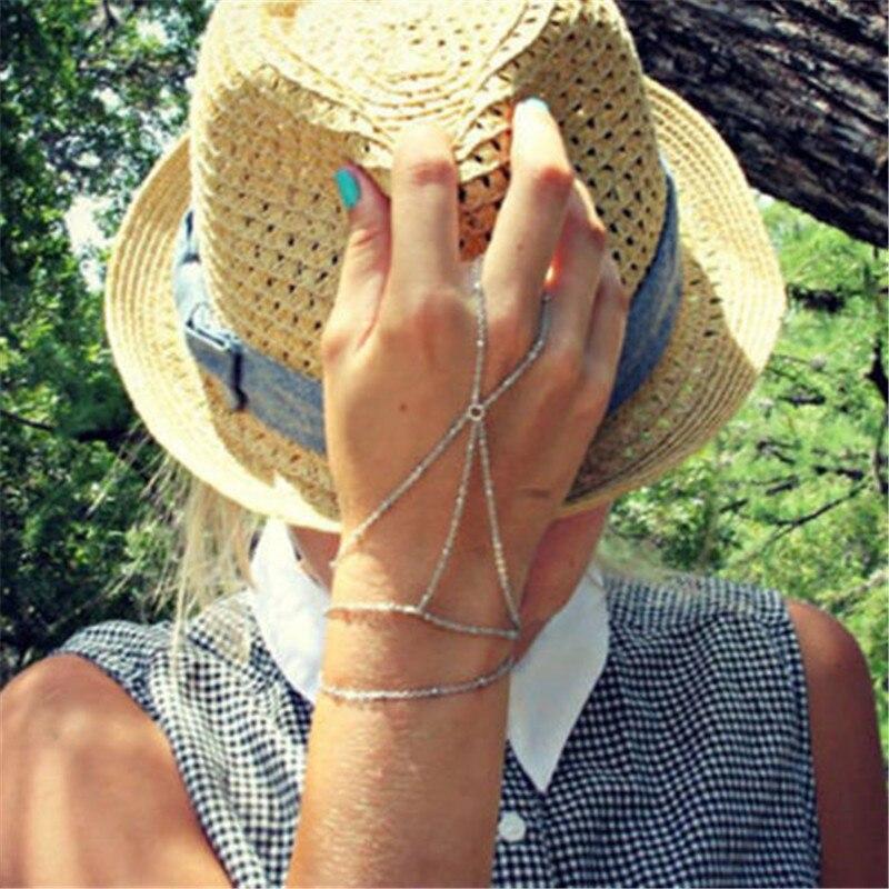 6e937cd7caac 1 unid personalidad retro Dedo de plata Pulsera esclavo mano arnés cadena  mano arnés regalo para las mujeres chica