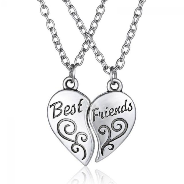 1Set Heart Pendant Necklace Best Friend Letter Necklace For Women Girls Jewelery Best Gift Friend Alphabet Jewelry