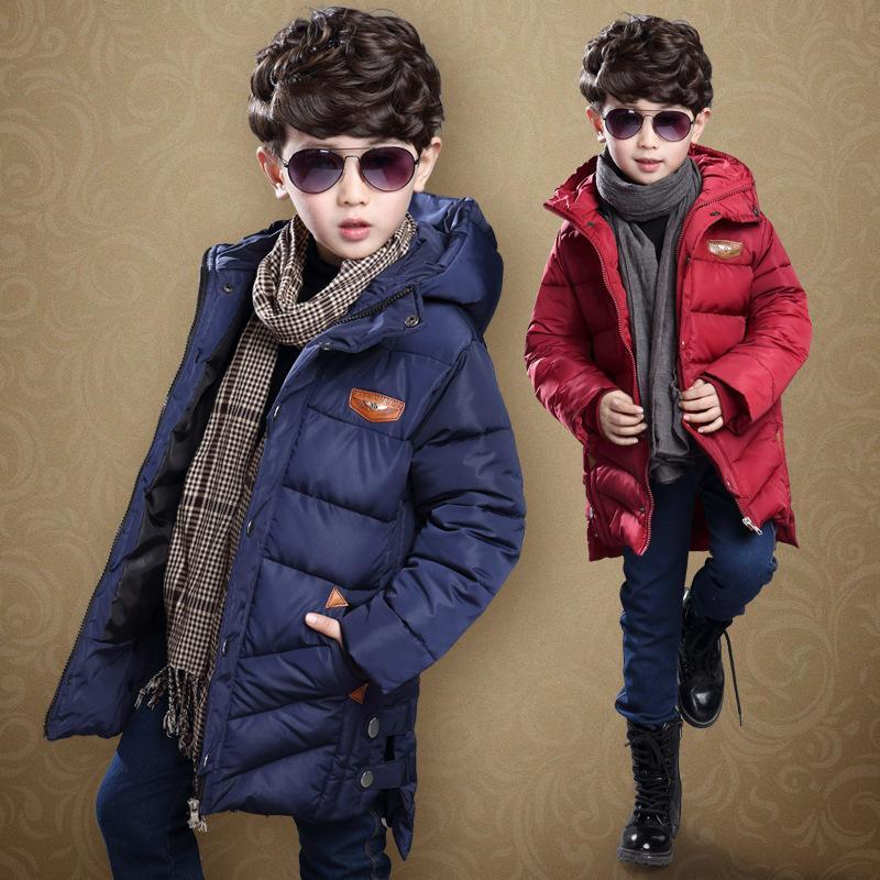 ФОТО 2017 New Boys Cotton-Padded Parkas,Thick Children Jacket For Boys, Long Coat Kids,Winter Clothes Boys,Red/Blue,Height 115-165cm