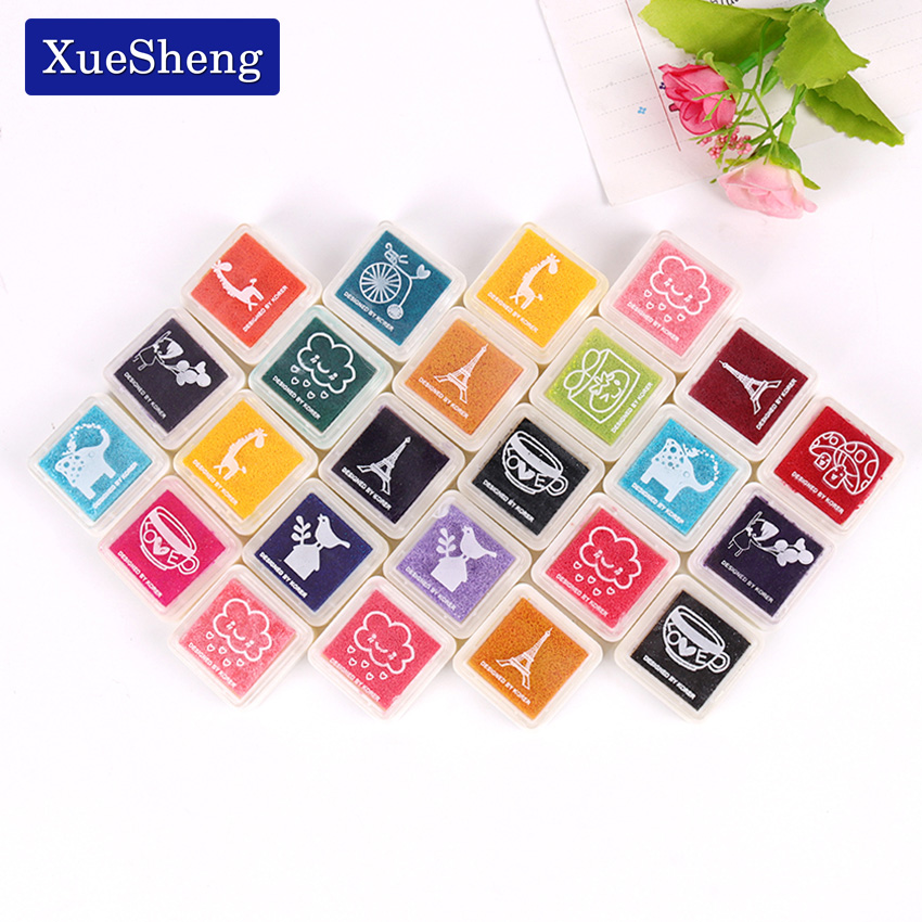 24PCS/Set Colorful Inkpad Children DIY Fingerprint Painting Mud Homemade Vintage Crafts Ink Pad Scrapbooking Accessories