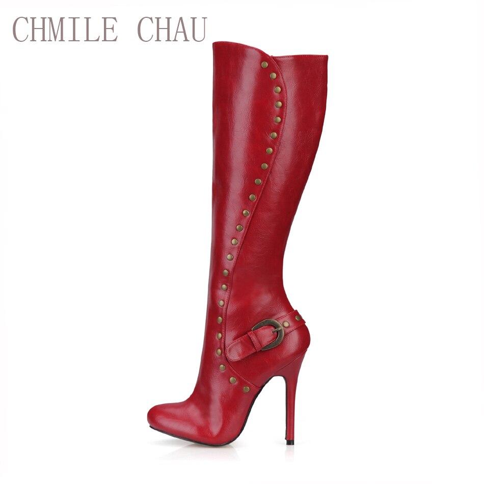 CHMILE CHAU Burgundy Stiletto Sexy Party Shoe Mujer Stiletto Burgundy High Heels 4c1cf3