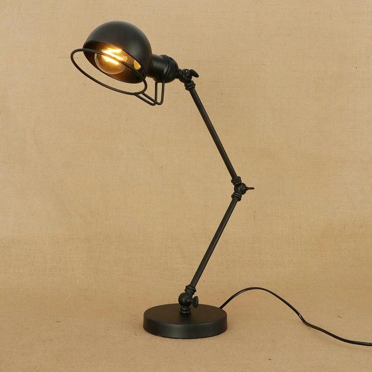 Retro Coffee Shop Table Lamp Wood Vintage Desk Lamp Dimmable 40w Edison Bulb 220v Bedroom Bar Table Light Desk Light Iron Aliexpress