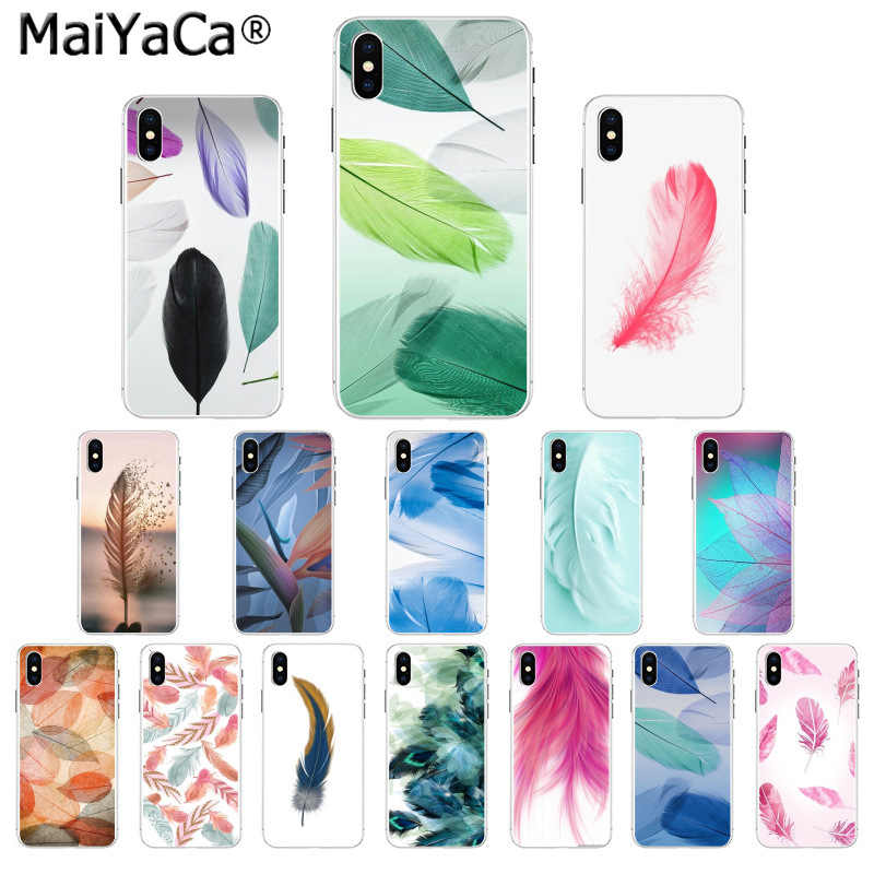Maiyaca Color art Green plant Feather flower Black Phone Case for iphone 11 pro 5Sx 6 7 7plus 8 8Plus X XS MAX XR