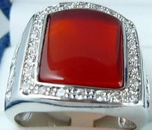 Fashion Jewelry red jades Gem stone men's ring size:8-11 AAA Grade>>(China)