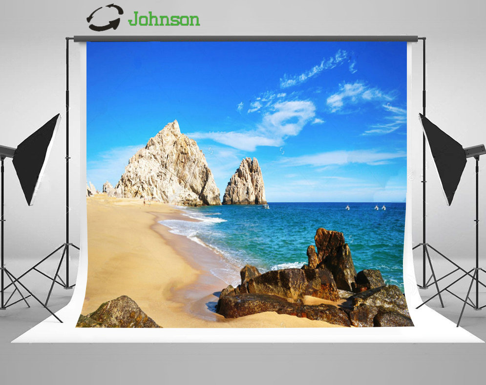 Blue Sky White Clouds Love Beach Rock Sea background polyester or Vinyl cloth High quality Computer print wall backdrops