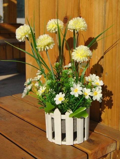 Free Shipping Fashion Small Fence Artificial Dandelion White Daisy Silk Flower Combination Home Decorative Flower Set