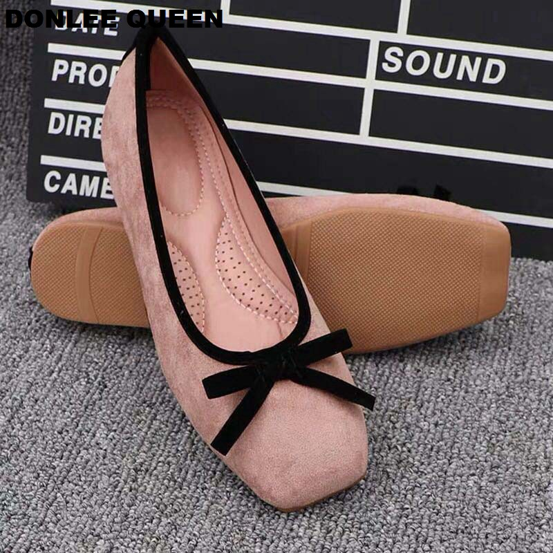 Plus Size 41 Ballet Shoes Women Square Toe Flock Butterfly-knot Ballerina Comfortable Latex Insole Moccasins Slip On Loafer Shoe