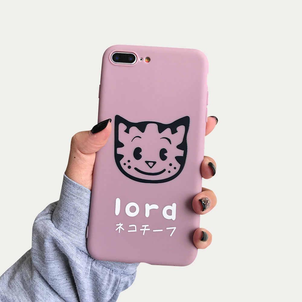BEIJOS Bonito Do Cão Do Gato Caso Simples Para iphone 7 X XR XS MAX 8 6 6 S Mais Macio TPU Telefone casos Para iphone 5 5S SE Capas de Desenhos Animados