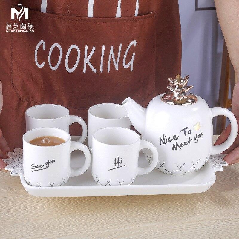 Concise Ceramics Infusion Of Tea Kettle Suit Coloured Glaze European White Porcelain Tea Tray Concise Lovely Yi Qingxi Tea Set