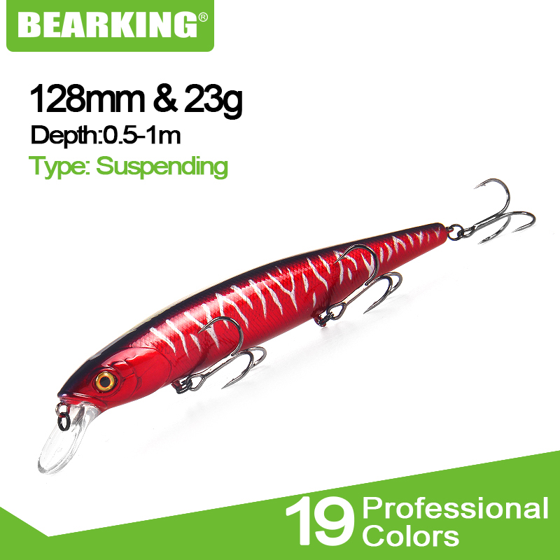 BEARKING Perfect Action 19 Colors For Artificial Fishing Lures Bait 128mm 23g Suspending Minnow Wobblers Crankbait