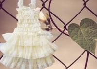 3 Tier Ivory Lace Party Dress Birthday Weddings Girls Dress 5pcs Lot