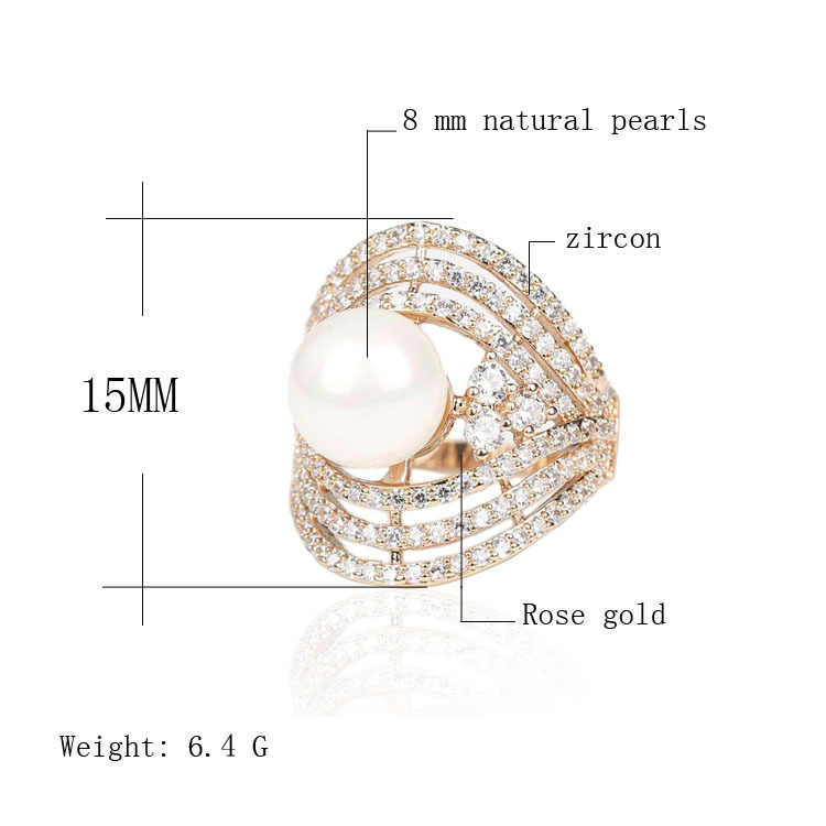 Noble Pure Natural Pearl Ring Cubic Zirconia Rose Gold Rings For Women  Gift Of Love