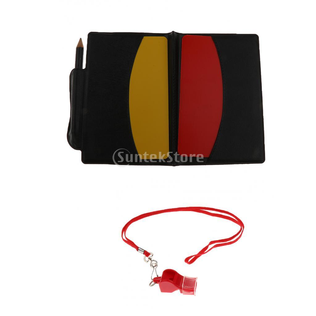 Referee Warning Card Wallet Red / Yellow For Football Soccer + Co Ach Whistle
