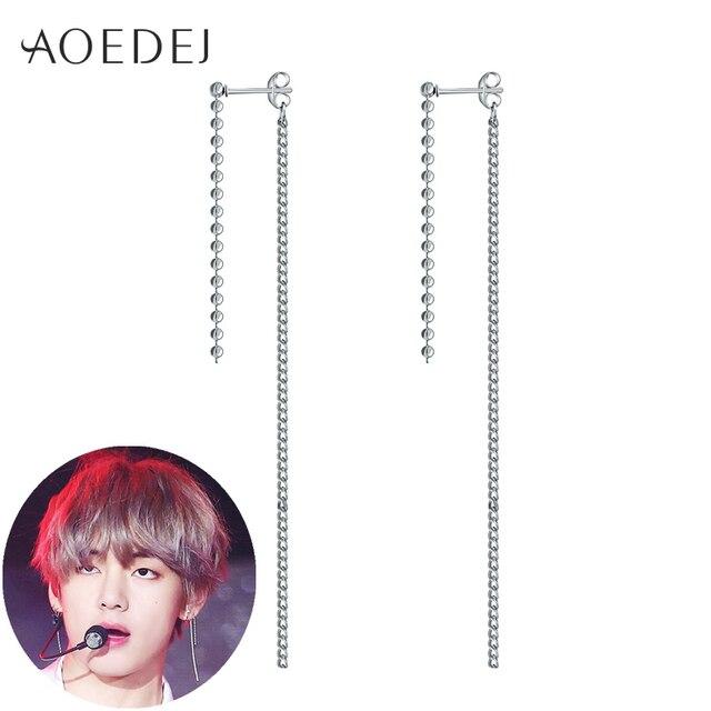AOEDEJ 1pc V BTS Earrings Bangtan Boys DNA Real Sterling Silver 925 Earrings  Womens Long Tassel c5bc64393c3e