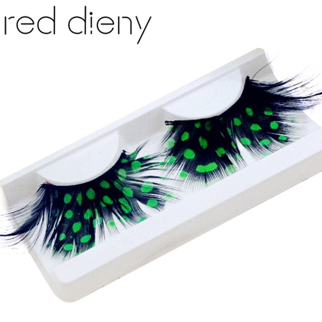 1 Pair Fashion Colors Cosplay Halloween Feather False Eyelashes Handmade Party Exaggerated Fake Eye Lashes Extension Makeup Tool 5