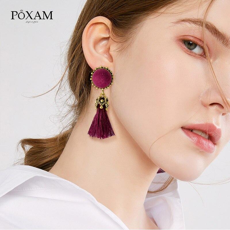 POXAM Bohemian Pompom Tassel Drop Earrings For Women Girls Red Cotton Silk Fabric Fringe Earrings 2019 Fashion Female Jewelry