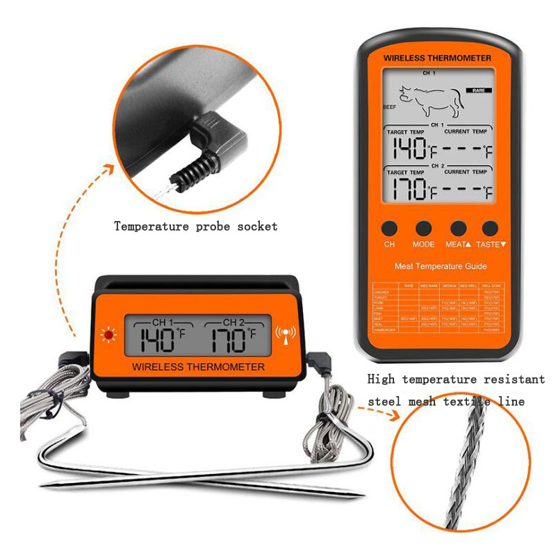 Double Probe Digital Wireless Oven Thermometer Meat Water Food Barbecue Barbecue Cooking Kitchen Timer Temperature Alarm in Temperature Instruments from Tools