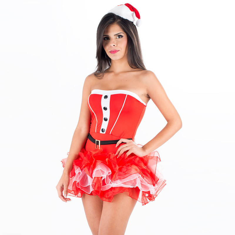 Fashion Christmas Dresses Women Clothes Sexy Santa Claus Halloween Cosplay Red Strapless Tutu Dress 2 PCS Xmas Costume with Hat